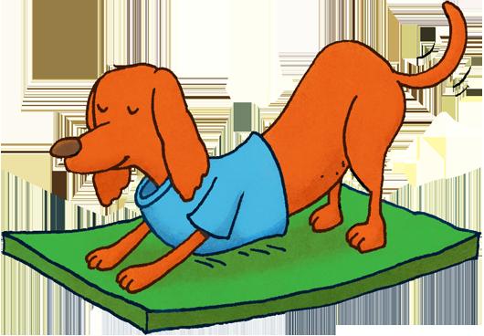 cartoon dog doing yoga