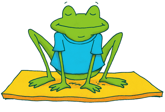 cartoon frog sitting on a yoga mat