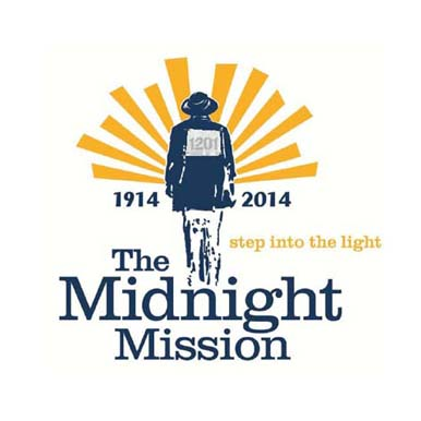 logo for the midnight mission showing a man walking into light beams