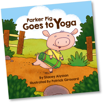 image of front cover from children's book parker pig goes to yoga