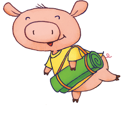 cartoon pig carrying a yoga mat